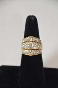 3ct. Genuine Round Diamonds Cluster 10k Yellow Gold Ring Size 7 On Sale