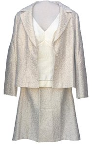 Ann Taylor Gold & Cream Jacquard Skirt Suit
