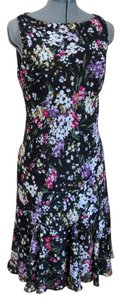 Chaps Bias Cut Floral Midlength Sleeveless Boatneck Dress
