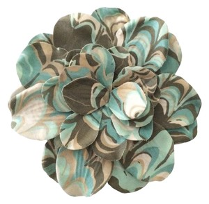 Gap Flower Pin Blue & Brown Marbled Fabric Brooch Clip Lapel Hat Bag Hair