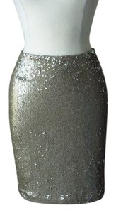 White House | Black Market Sequin Old Mini Skirt gold