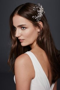 David's Bridal New! Pave Leaf And Flower Comb