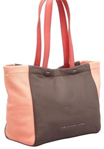 Marc by Marc Jacobs Work Everyday Leather Tote in Dry Violet And Light Pink Colorblock