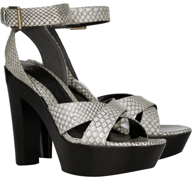 Item - Grey W New W/ Tag Snakeskin Embossed Wedges Size US 9 Regular (M, B)