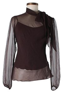 Lela Rose Silk Sheer Layered Top Brown