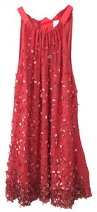Elie Tahari Embellishment Halter Silk Blouse Beading Sequins Top red