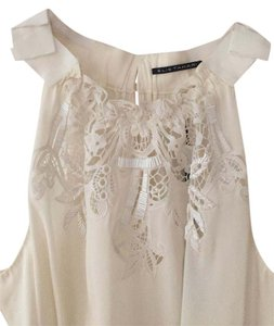 Elie Tahari Embellished Silk Beading Halter Top Cream