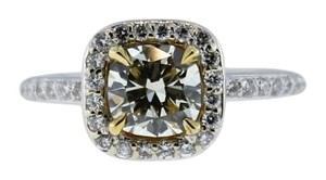 1.50ct 18K Gold EGL Cushion Brilliant Yellow Diamond Engagement Wedding Ring