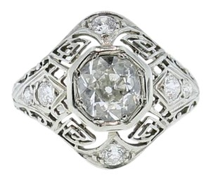 EGL Certified Art Deco 14k Solid White Gold 1.26ct Diamond Engagement Ring