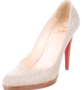 Christian Louboutin Silver-tone canvas Pumps