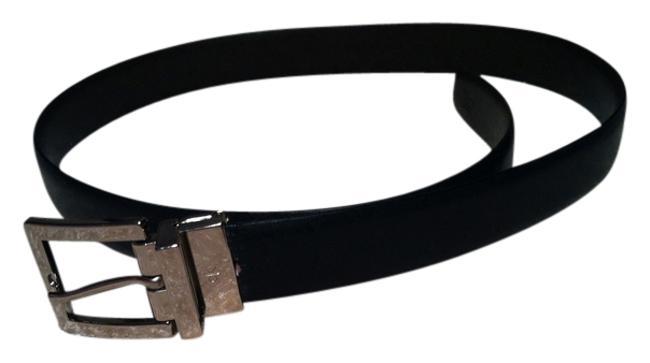 Item - Black with Silver Detail Genuine Leather Belt