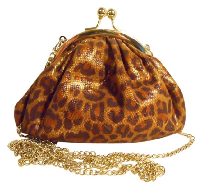 Item - Crossbody Kiss Lock Pouch Brown Tan & Gold Animal Print Polyester Baguette