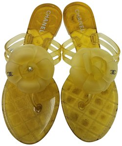 Chanel Jelly Glitter Interlocking Cc Silver Hardware Camellia Yellow, Gold Sandals