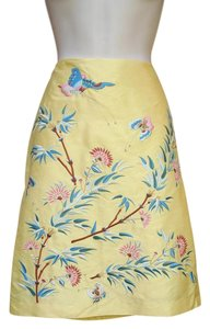 Ralph Lauren Black Label Embroidered Asian Above-knee Silk Shantung Mini Skirt Yellow