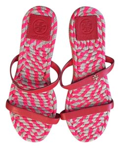 Tory Burch Leather Espadrilles Coral Sandals