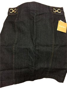 Ellen Tracy Denim Jean Chain Mini Skirt Dark Indigo