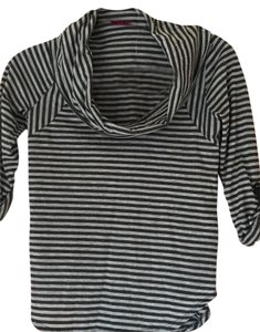 Velvet by Graham & Spencer Striped Draped Neckline Top Black and Gray