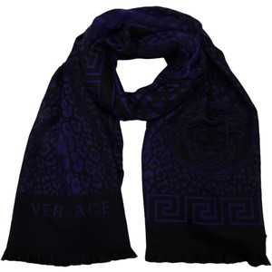 Versace Versace Animal Print Black/Purple 100% Wool Mens' Scarf