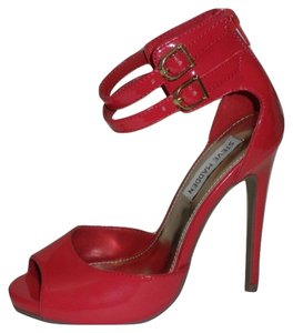 Steve Madden Patent Patent Leather Pump Open Toe Ankle Strap Red Sandals