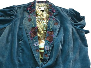WD.NY M M M M Flower Power BLUE W/MULTI COLORED BEADS& EMBROIDERY Jacket
