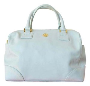 Tory Burch Robinson Saffiano Leather Satchel in Mint Blue