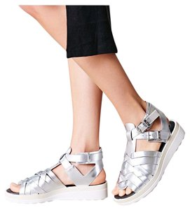 Sam Edelman Designer Sandals Silver Wedges