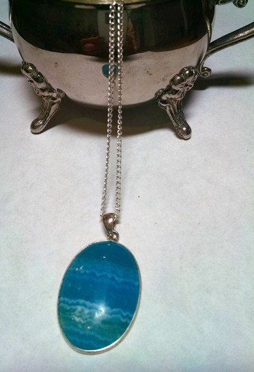 Other New Blue Agate Gemstone Pendant Necklace Jewelry 925 Silver J478