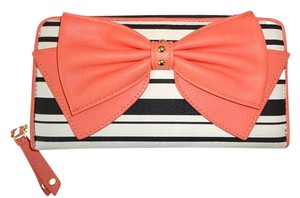 Betsey Johnson Coral bow /bone/black striped/ zip around wallet /