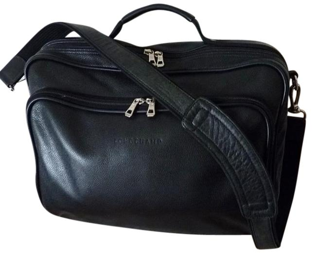 Longchamp Black Leather Weekend/Travel Bag Longchamp Black Leather Weekend/Travel Bag Image 1