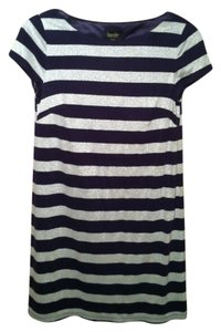 Laundry by Shelli Segal short dress Navy blue and silver stripes Shift on Tradesy