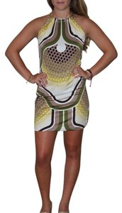 Trina Turk short dress off white, brown and green on Tradesy