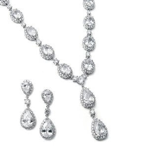 Mariell Mariell Aaaaa Cz Teardrop Bridal Necklace Set