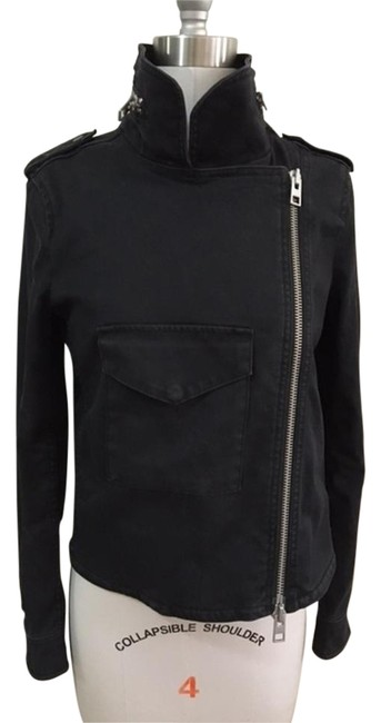 Item - Black Zippers Cool Motorcycle Casual Jacket Size 4 (S)