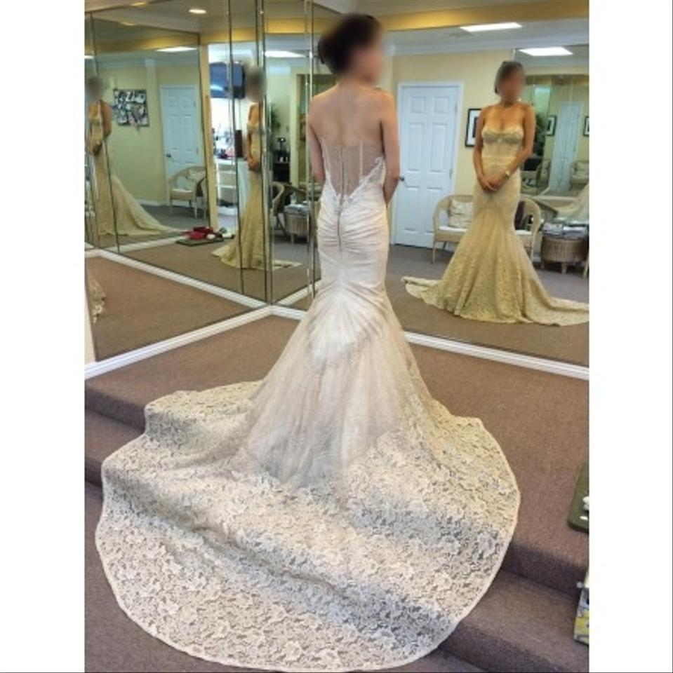 e01a31137f075 Inbal Dror Champagne and Vintage Ivory Lace 14-10 Sexy Wedding Dress Size 2  ...