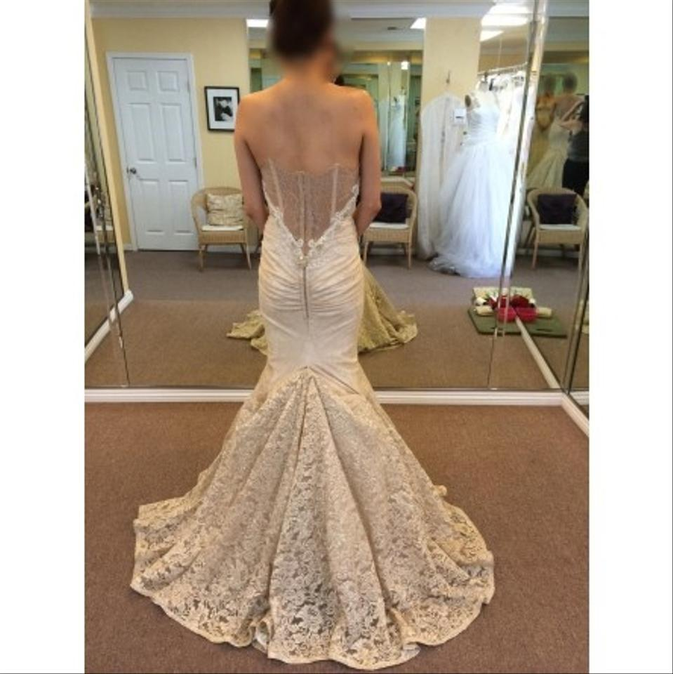 32695f232ff3a Inbal Dror Champagne and Vintage Ivory Lace 14-10 Sexy Wedding Dress Size 2  (XS) - Tradesy