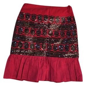 Anthropologie Skirt Red and black seqence