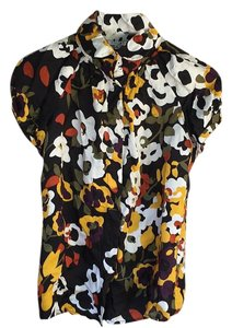 Walter by Walter Baker Button Down Shirt Black with colourful flowers