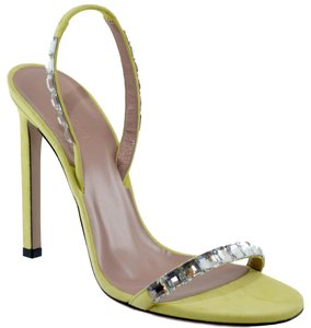 Gucci 370472 Suede Leather Crystals Light Green Sandals