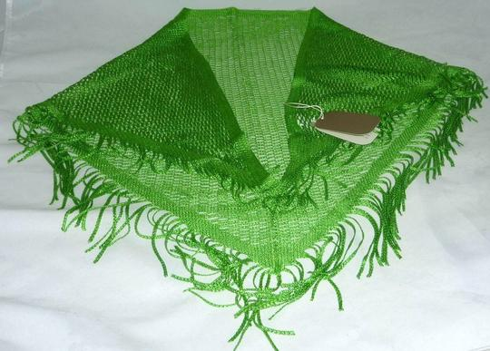 Nordstrom NWT Nordstrom Triangle Small ITALIAN Green Crochet Scarf wrap with Fringe