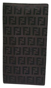 Fendi Fendi Brown Black Zucchino Bifold Wallet Checkbook Leather