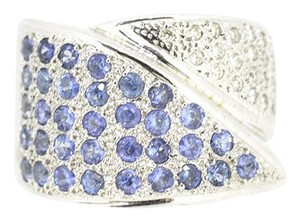 Other 18K White Gold 0.45Ct Diamond Sapphire Ring 10.5 Grams Size 7