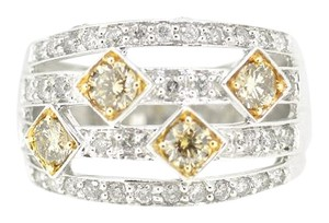 14K White Gold 1.50Ct White Yellow Canary Diamond Ring 7.8 Grams Size 7