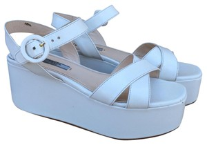 Prada Wedge Whimsical White Platforms