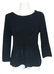 Style & Co Knit Knit Scoop Neck 3/4 Sleeve Top black