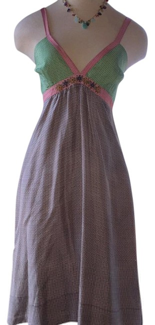 Item - Pink Green Coffee Knee Length Short Casual Dress Size 4 (S)
