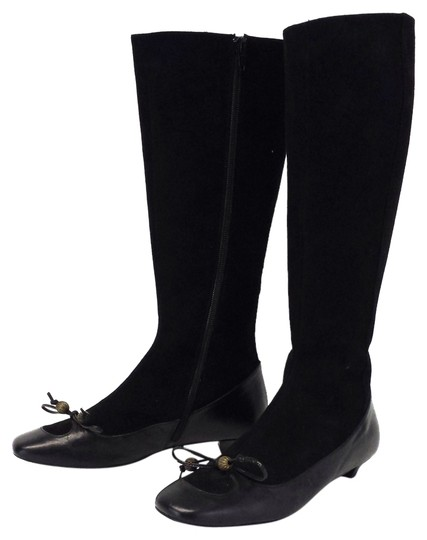 Lulu Guinness Black Suede & Leather Boots