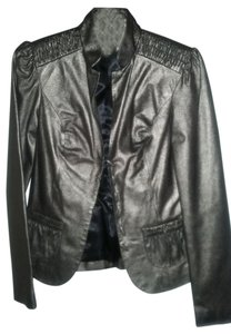 Beth Bowley Leather Metallic Leather Blazer