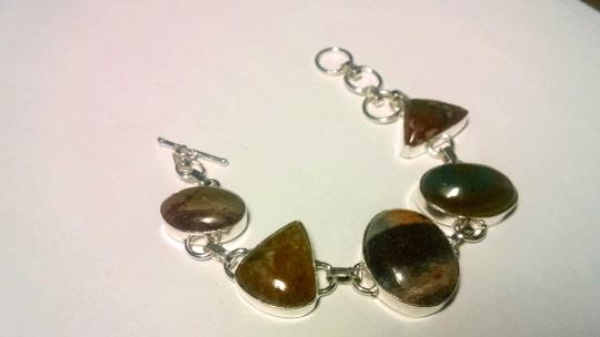 Other New Mud Jasper Bracelet Large Stones 925 Silver 8 Inch Toggle J569