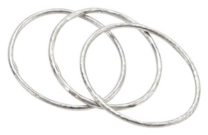 Ippolita Ippolita Sterling Sliver 3 Bracelet SET Hammered Bangle Oval Slip On Style