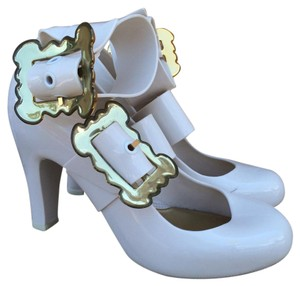 Vivienne Westwood Whimsical Buckle Ankle Strap Quirky Mary Jane White Pumps